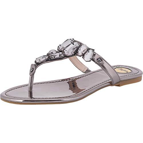 Buffalo Edina Damen Zehentrenner,Sandaletten,Sommerschuhe,Strandschuhe,flach,luftig,Pewter,39 EU