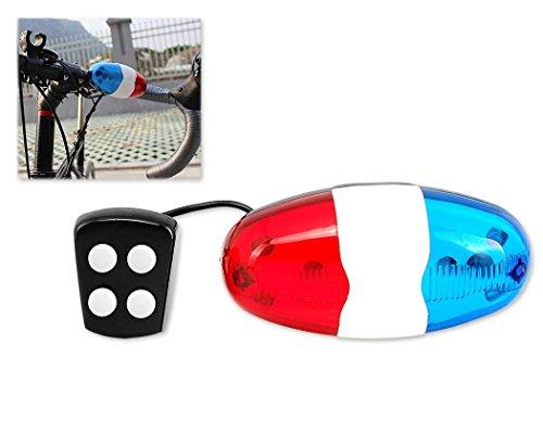 Frmarche Vélo Électrique Sound Light 4 Sons 6 LEDs Sonnette Sirène Police Corne pour Bicyclette