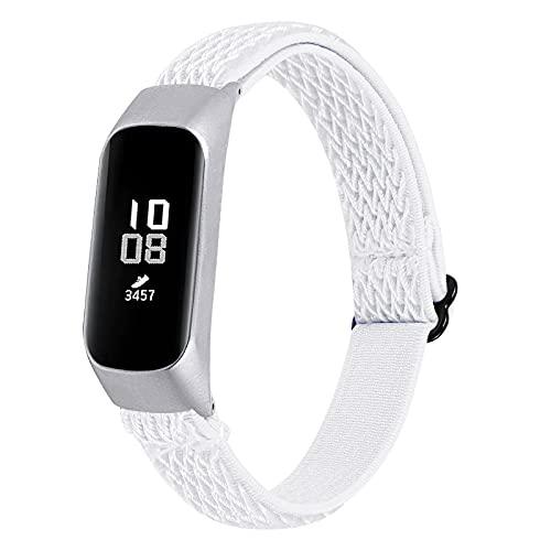KangPlus Correas compatibles con Samsung Galaxy Fit E, correa de reloj Jennyfly para mujeres y hombres, ligera, suave, elástica, ajustable, 13,5-21 cm, transpirable, de repuesto, color blanco