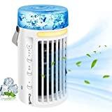 Portable Air Conditioner, CrazyFire Personal Air Cooler 3 Modes Adjustable, Evaporative Humidifier Desk Table Fan with 7 Colors Night Light and Lighting Function for Home Bedroom Office Camping(White)