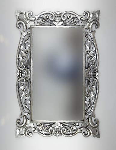 Rococo Espejo Decorativo de Madera Tanduk de 150x100 en Plata (Envejecida)