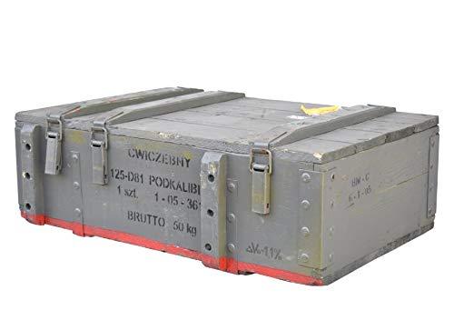 Vintage Möbel 24 GmbH Großzügige Munitionskiste aus Holz im Military Style, 82x51x29cm - Militär Truhe Offizierskoffer Aufbewahrungskiste Munitionsbox Militaria