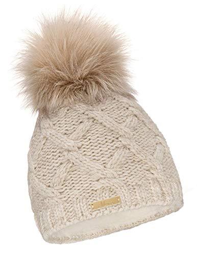 Mikos* Damen Warme Strickmütze mit Bommel   Innenfleece Bommelmütze   Fellbommel Mütze für Winter   Ski Mütze (682) (Beige)