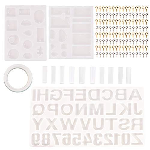 214 stks DIY Hangers Oorbellen Armbanden Siliconen Mallen Schroef Eye Pins Set Alfabet Nummers Hars Mallen