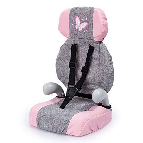 Bayer Design- Giocattolo, Seggiolino Auto, Accessori per Bambole con Cintura, Moderno, Colore Jean Gris, Rose avec Papillon, 67533AA