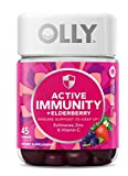 Olly Gummy Active Immunity+Elderberry, 45 Gummies (1 Pack), Berry Flavor