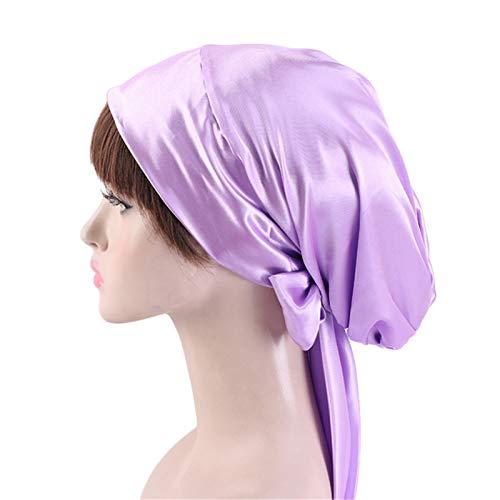 JOMSK Gorra de Sombrero Turbante 2PCS Ladies Satin Print Ribbon Bow Turban Hat Long Tail Braid Hat Night Cap (Color : H, Size : One Size)