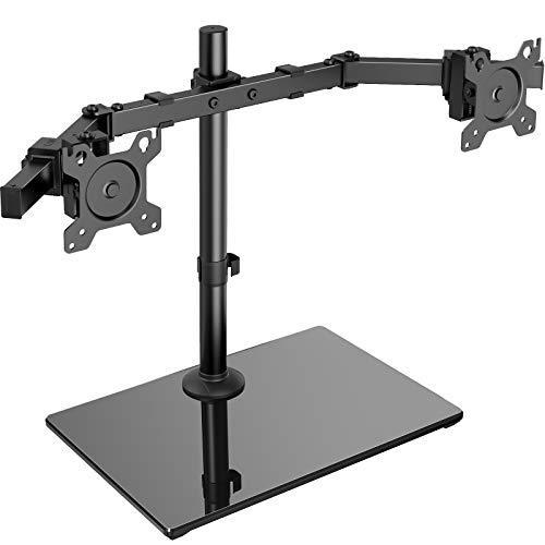 """ErGear Support Double Ecran PC pour 13""""- 32""""/12 kg Ecran avec Construction Solide Base Support Ecran PC Mouvement Fluide Support d'écran Inclinaison ±45° Inclinaison ±35° Rotation 360°"""