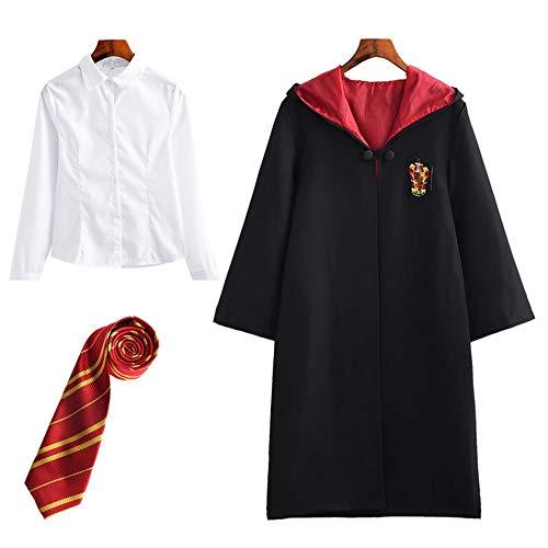 FStory&Winyee Harry Potter Kostüm Kinder Erwachsene Umhang Unisex Gryffindor Hufflepuff Ravenclaw Slytherin Outfit Set Fanartikel Cape,Krawatte,Hemd Halloween Fasching Verkleidung Schwarz 115-185