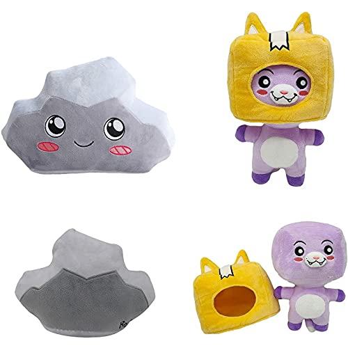 2 unids LankyBox de Felpa, Juego de Peluche de Foxy y Boxy extraíble de 2 LankyBox Plushies Stuff Toys Animal Toys 9.8 Pulgadas-Foxy+Rocky