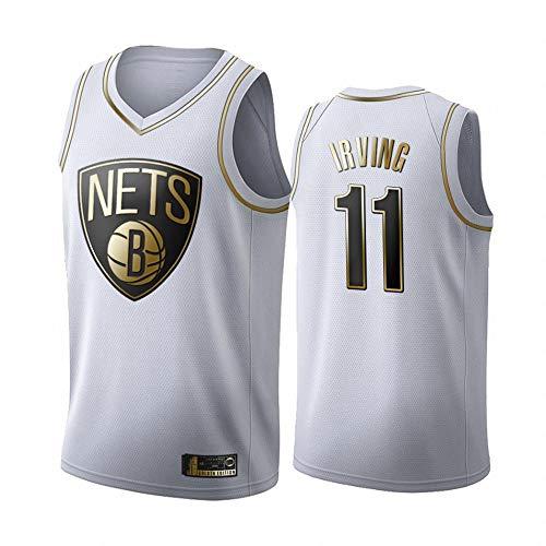 LITBIT Baloncesto para Hombres NBA Jersey Brooklyn Nets 11# Irving White Gold 2021 Transpirable Secado rápido Resistente al Desgaste Vestima sin Mangas Top para los Deportes,XXL