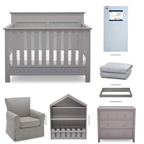 Crib Furniture - 7 Piece Nursery Set with Crib Mattress, Convertible Crib, Dresser, Bookcase, Glider Chair, Changing Top, Crib Sheets, Serta Fall River - Gray/Dove Gray