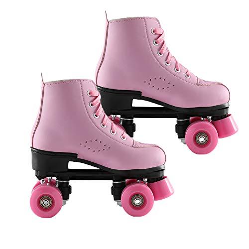 HSART Adjustable Skates, Double Row 4 Roller Skates PU Leather Roller Skates for Kid and Adult, Indoor Outdoor, Pink,39