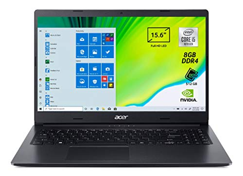 Acer Aspire 3 A315-55G-565J Notebook con Processore Intel Core i5-10210U, Ram 8 GB DDR4, 512 GB PCIe NVMe SSD, Display 15,6' FHD LED LCD, Scheda Grafica NVIDIA GeForce MX230 2 GB, Windows 10 Home,Nero