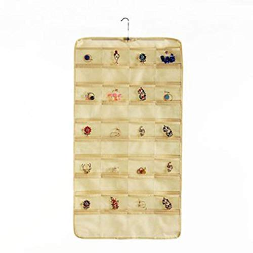 Dracol Bolsa de almacenamiento para colgar llaves, organizador de pared, organizador de pared con 80 compartimentos, organizador multifuncional, color beige