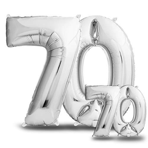 envami Luftballons 70. Geburtstag XXL Silber - Riesen Folienballon in 2 Größen 40