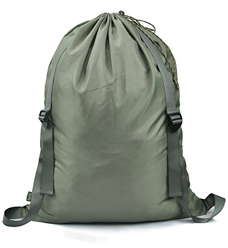 """iwill CREATE PRO 『25""""X31""""』Hanging Laundry Bag, 100% Nylon Hanging Clothes Hamper with Adjustable Shoulder Straps, Drawstring Lockable for College Student Use, Army Green"""