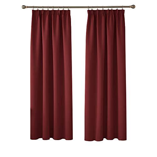 Deconovo Cortinas Dormitorio Moderno Fruncidas Blackout Curtain Suave para Ventanas de Habitación Juvenil con Bolsillos Juego de 2 Paneles 117 x 229 cm Rojo Oscuro