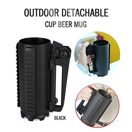 Abnehmbarer Battle Rail Mug Cup, abnehmbarer tragbarer Aluminium Military Cup Outdoor Sports Cup mit Griff für Wasser Bier Lagerung Weingläser