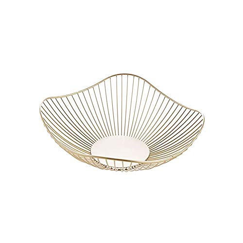 IBWell Short Curved-Edge Modern Creative Stylish Single Tier Dish,Metal Iron Wire Fruit Vegetables Bread Decorative Stand Serving Bowls Basket Holder (Gold)