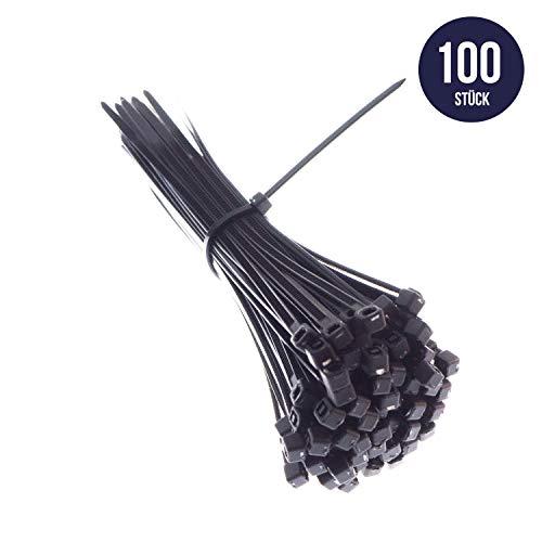 Premium Kabelbinder In Schwarz (100 Stück, 250mm x 3,6 mm) UV, Hitze und Kältebeständig, Extra Stark, Geprüfte Qualität