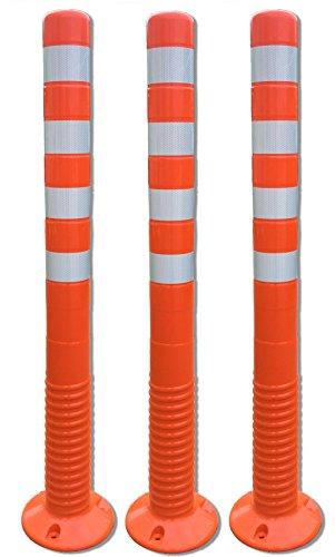 3 Stück UvV®-Reflex Absperrpfosten, Poller 100 cm hoch, flexibel orange, reflektierend, selbstaufrichtend