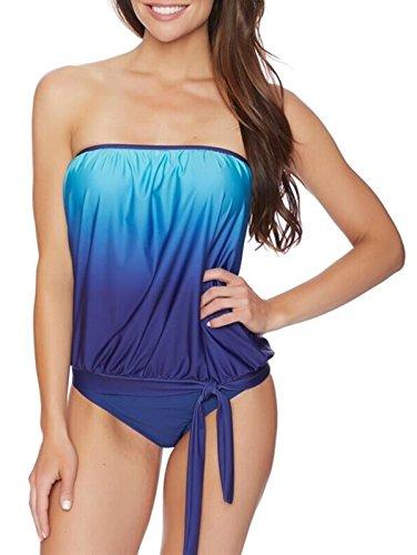 American Trends Women's Sexy Plus Size Bandeau Blouson Tankini Swimwear Two Piece Bathing Suit Swimsuit Breifs Beachwear Marine Blue XL (US Size 12-14)