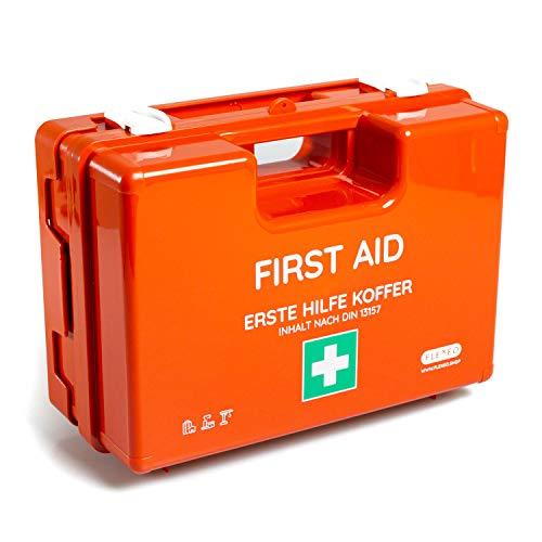 Erste-Hilfe-Koffer für Betriebe, öffentliche Einrichtungen & Zuhause mit Inhalt nach DIN 13157 in orange, Verbandkasten gefüllt und mit Wandhalterung
