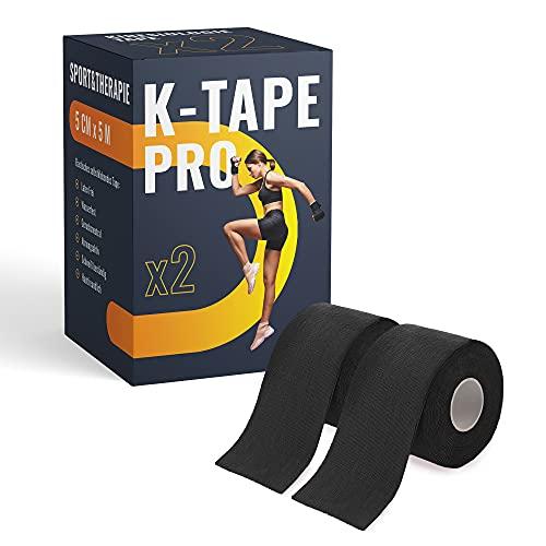 K-Tape Pro - Premium Kinesiologie Tape 5cm x 5m - Wasserfest & Elastisch - Kinesiotapes Set in versch. Farben | Physio Tape | Sport Tape (2er Set, Schwarz)