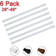 """6 Pack Spring Tension Curtain Rod Adjustable Length for Kitchen, Bathroom, Cupboard, Wardrobe, Window, Bookshelf DIY Projects (White - 6 Pack,28"""" to 48"""" Adjustable)"""