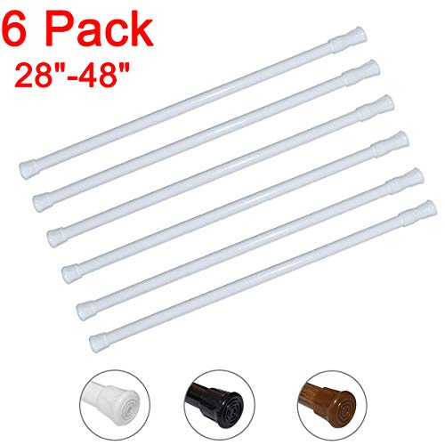 6 Pack Spring Tension Curtain Rod Adjustable Length for Kitchen, Bathroom, Cupboard,...