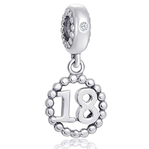 Number Bracelet Charms - 925 Sterling Silver Pendants/Beads Fit Pandora Charm Bracelets, Necklace, and European Snake Chain, Dangling/Dangle Charm for Birthday and Anniversary Gifts.(Number 18)