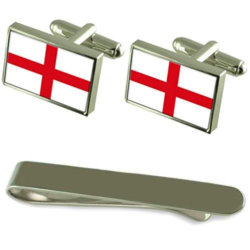 Select Gifts England St. George's Cross-Flag Silber Manschettenknöpfe Krawatten Clip Box Set