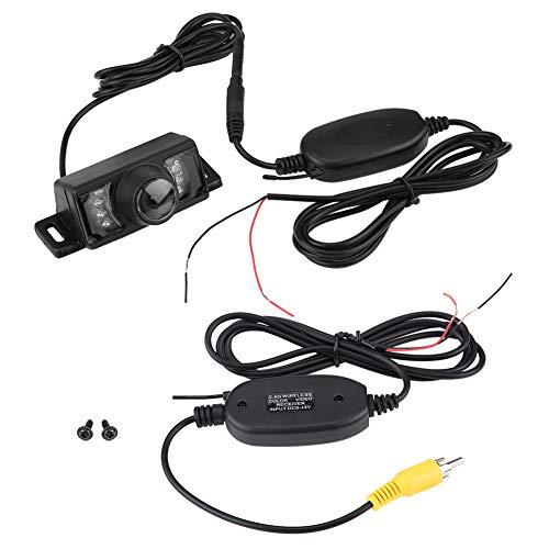 Esenlong 7Pcs IR Led Versión Nocturna Cámara de Respaldo de Marcha Atrás para Automóvil+ Transmisor Y Receptor de Video RCA Inalámbrico ( Negro )