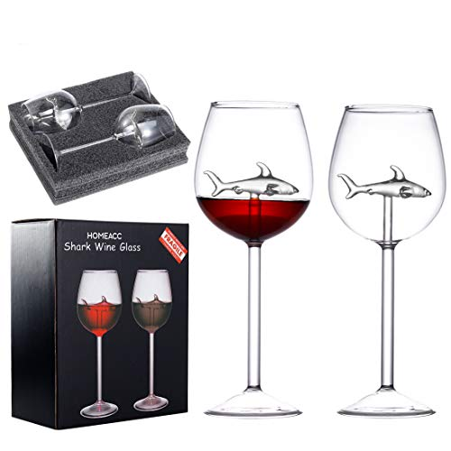 HOMEACC 2 Packs Shark Wine Glass with Box Crystal Flutes Goblets Novelty Gift for Wine Lovers Home Bar Party Christmas Celebration