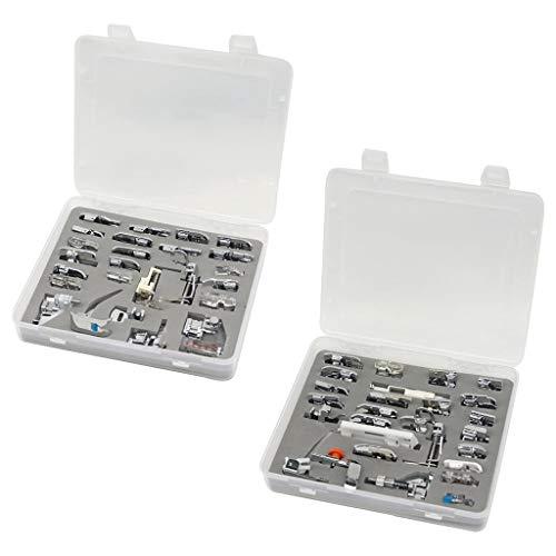 Pwtchenty 52 Stück Nähmaschine Nähfuß Zubehör, Nähfußset, mit Aufbewahrungsbox aus Kunststoff, DIY Nähen Enthusiasten, Professional Multifunktions Set