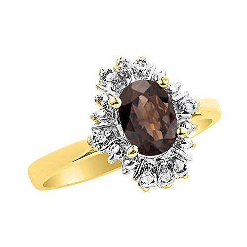 RYLOS Anillos para mujer de oro amarillo de 14 quilates, diamante y cuarzo ahumado con diamantes abanico de 7 x 5 mm, joyas de piedras preciosas de color para mujeres y anillos de oro