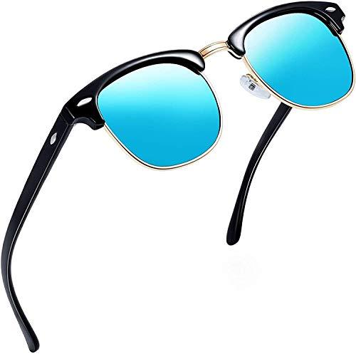 Price comparison product image Joopin Semi-Rimless Polarised Sunglasses Man - UV400 Protection Retro Half Frame Sunglasses Unisex Polarized Women Mens Sunglasses Mirror (Ice Blue)