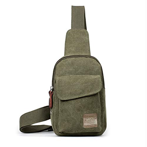Canvas Sling Bag Mens Crossbody Backpack Chest Shoulder Bags for Outdoor Travel Sport Pack (Army Green)