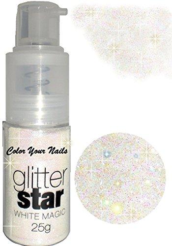 25g kosmetisches Glitterpuder Spray Magic Weiß. Auch auf Haut und Haare anwendbar. Glitzer in der Pumpflasche