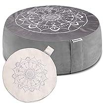 "Hihealer Meditation Cushion Floor Pillow with Extra Cover 16""x16""x5"" Meditation Pillow Cushions for Sitting on Floor, Zafu Meditation Accessories Decor Yoga Gifts"
