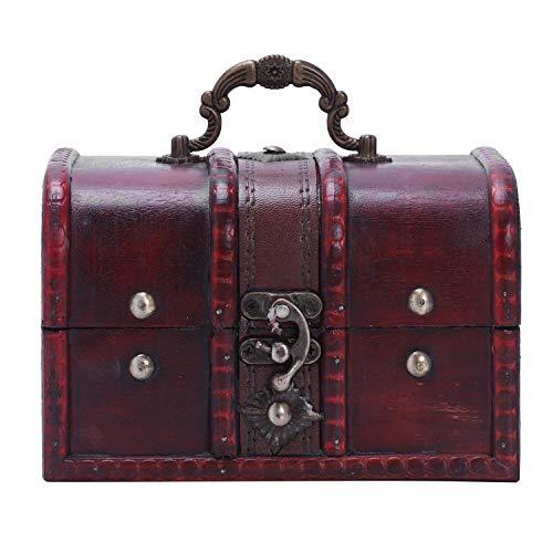Gesh Caja de almacenamiento para collares y pulseras de estilo vintage con varios tipos de cajas de madera. Tamaño: 16 x 11,5 x 10,2 cm.