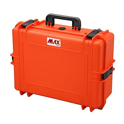 Max Cases - Valigetta con Spugna Cubettata per Trasportare e Proteggere Apparecchiature e Materiali Sensibili, MAX505S Arancione, Dimensioni Interne 500 x 350 x 194 mm
