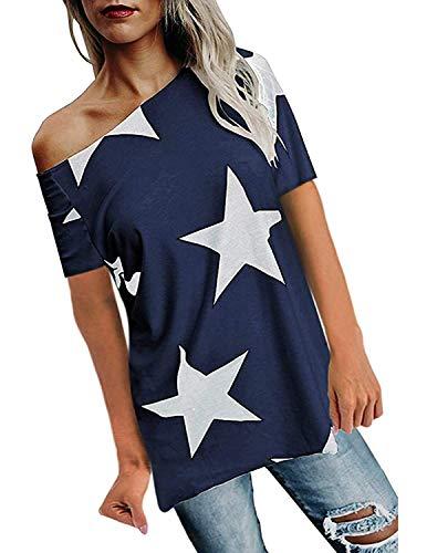 BUOYDM Donna Camicetta Estivo Camicia Casuale T-Shirt Basic in Cotone Senza Spalline Stampate Stella Maglietta Top Estate,Blu,L