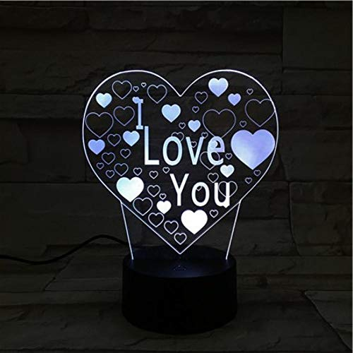 Leeypltm Tema dell'amore3D Luce notturna Led,Luce notturna regolabile con 7 colori e Interruttore tattile, USB Rechargeable,Light for Home Decoration And Gifts for Lover,s,Friends
