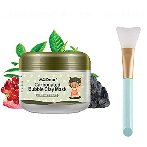 YiKiMira Carbonated Bubble Clay Mask sprudelt Schlamm-Maske 3.52 Unze. Natural Moisturize Tiefenreinigung Gesichtsmaske Sleeping Whitening Feuchtigkeitsspendende Schlammmaske mit Silikonmaske Pinsel