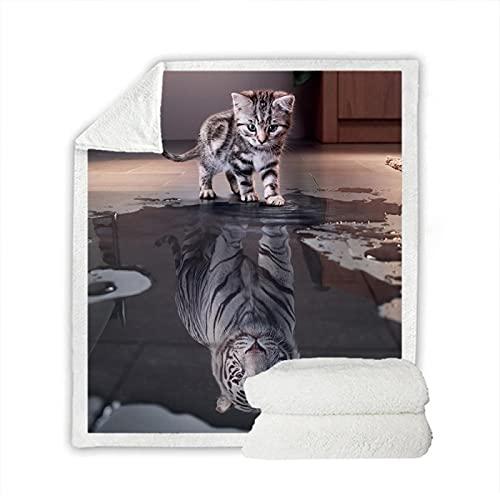 Manta De Tiro Suave, Diseño De Impresión 3D Gato Niño Manta, Premium Microfibra Suave Y Cálida Ropa De Cama Mullida Colorida (180X200Cm)