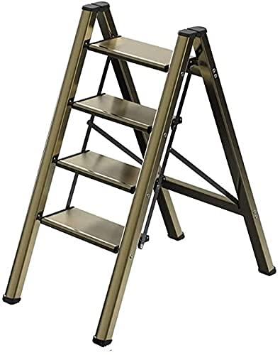 XIAOYU Stepladders in Metallo Multifunzione in Metallo, 2 gradini Sgabello da scaletta 3 Step Ladder Telaio 4 gradini Scala per Soggiorno Studio Camera da Letto (Colore: Gold, Dimensioni: 45,5 * 55