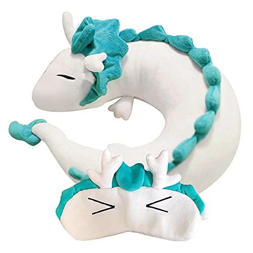 Anime Cute Haku Dragon Neck U Pillow U-Shaped Travel Pillow, Japanese Anime Stuffed Animal Neck Pillow, Animal Body Airplane Flight Pillow with Sleeping Eye Mask, Anime Car White Dragon Pillow