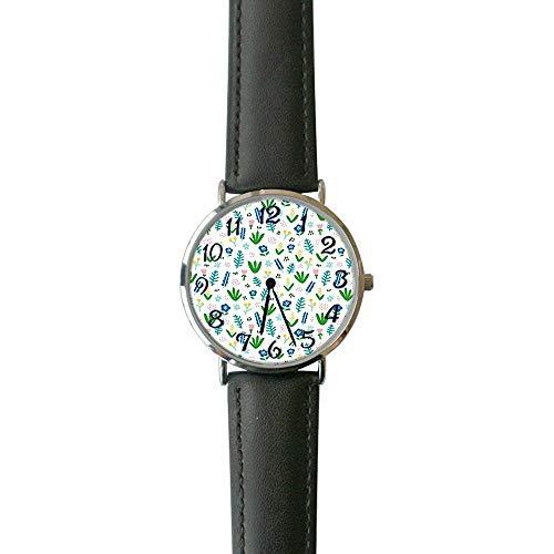 Shabby Chic BLU Floreale Casual orologio Moda orologi da polso analogici in Pelle per uomo e Donna